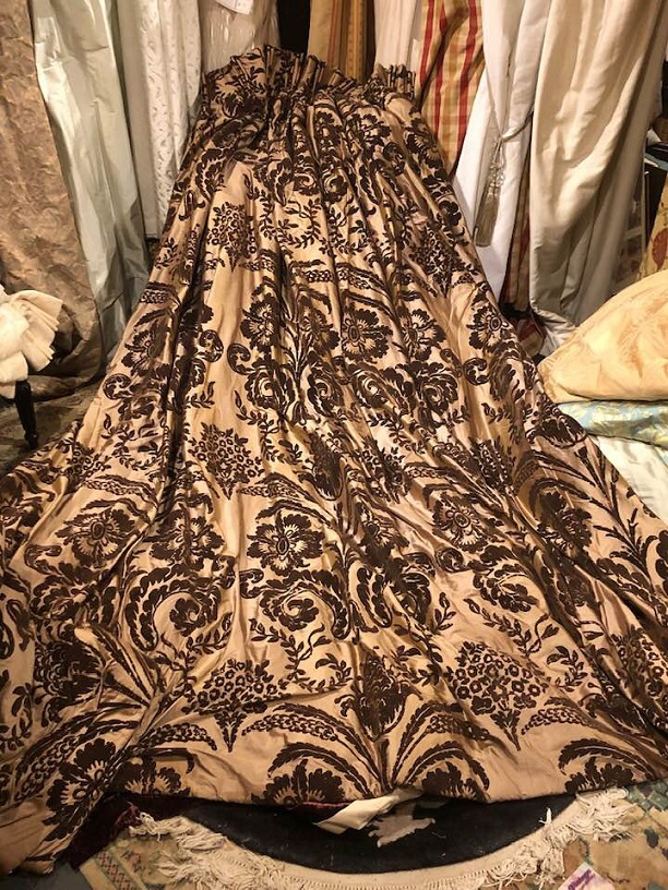 Amazing Bronze Silk Pinch Pleat Interlined Curtains W284 D275