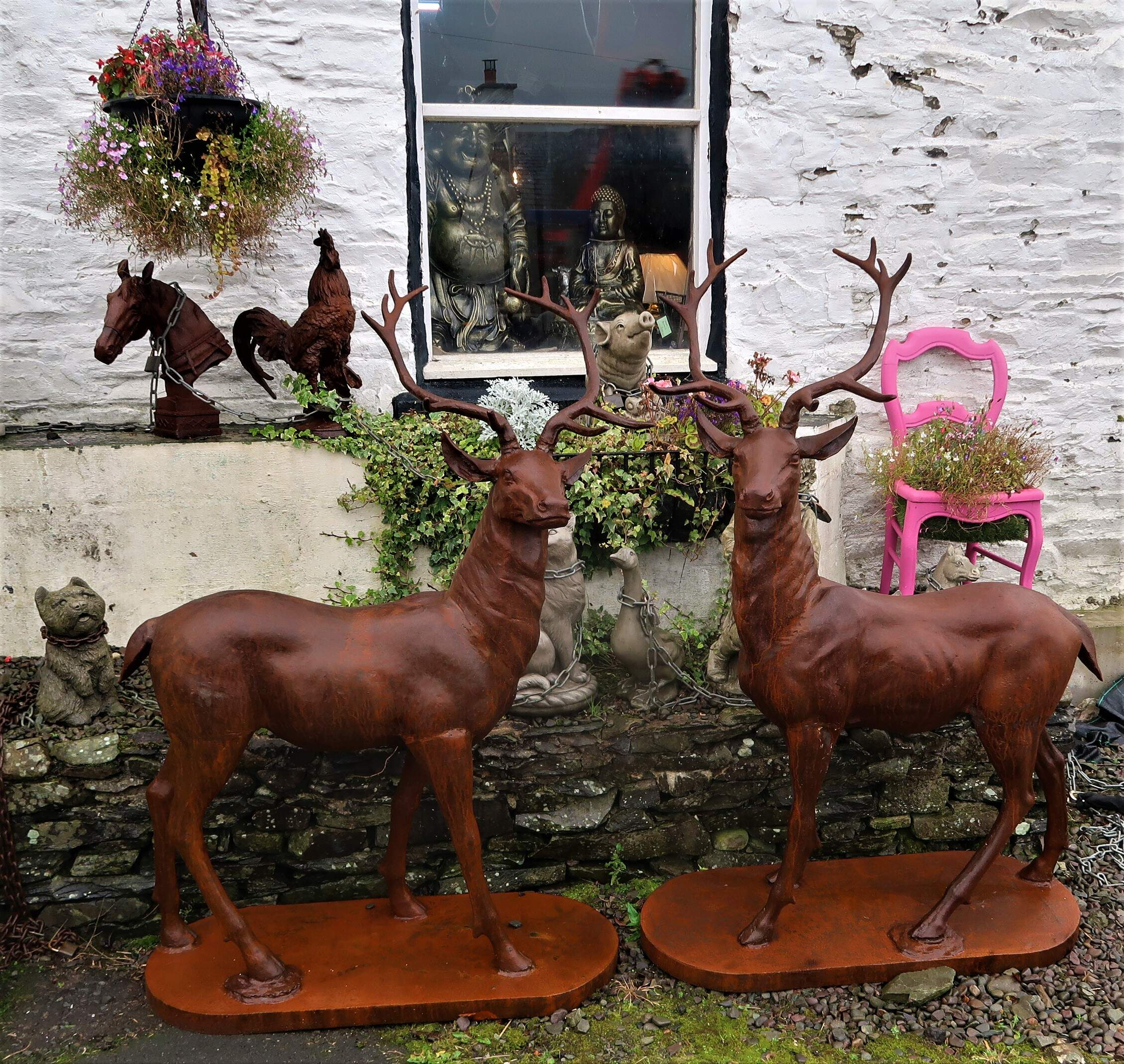 Cast iron stags.