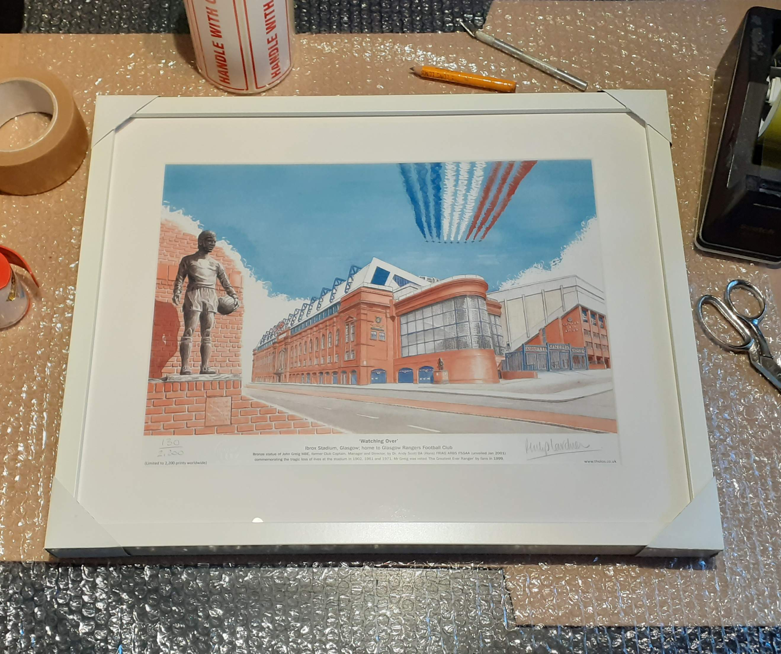 Framed 'Watching Over' Rangers FC fine art print