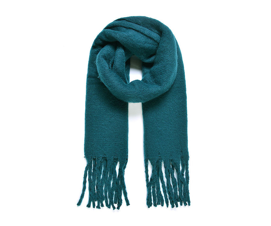 Cosy Blanket Scarf with Tassels in Teal