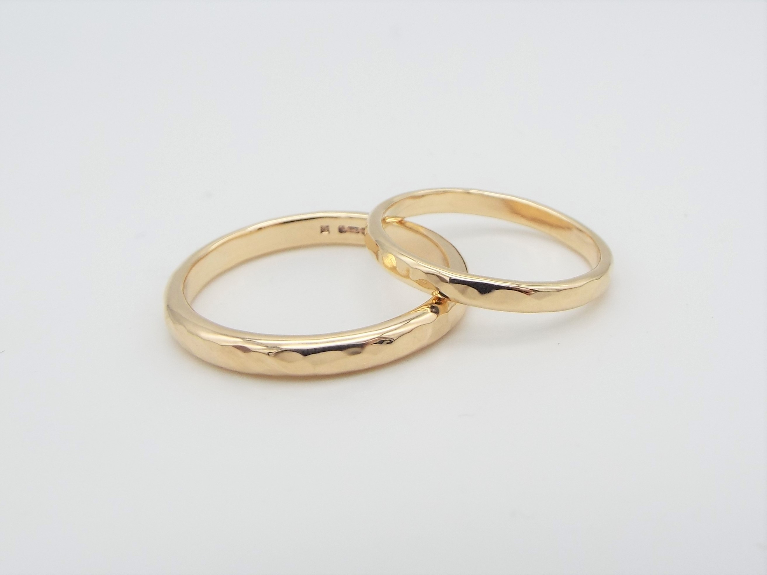 Hammered Gold His and Her Wedding Ring Set - 9ct Yellow Gold