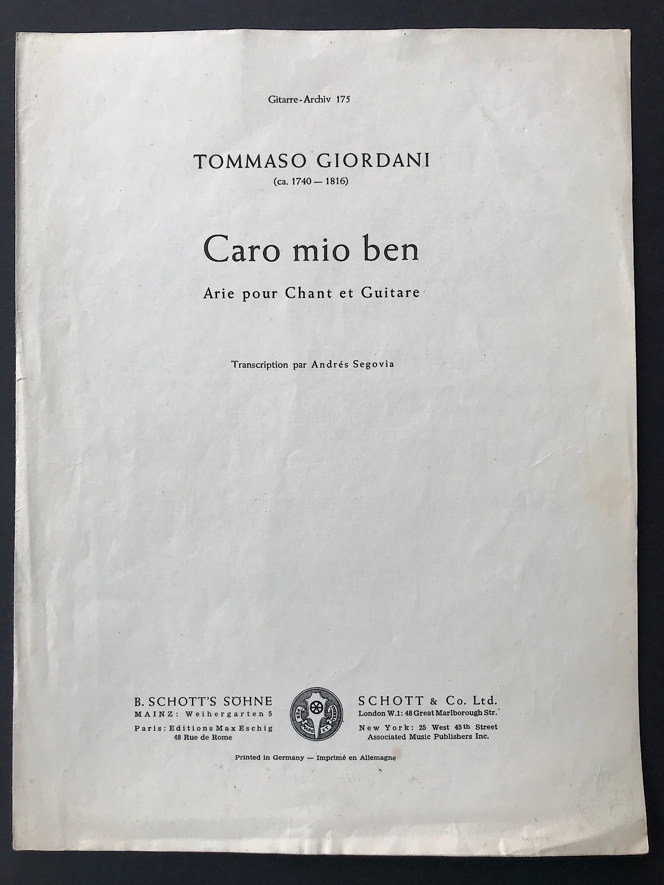 Caro Mio Ben by Thomas Giordani for Voice & Guitar