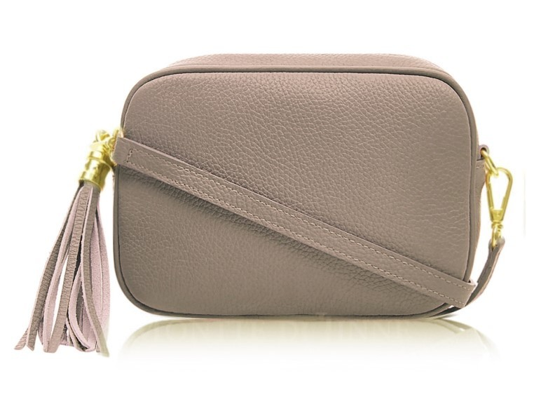 "Leather ""Camera"" Cross Body Bag in Taupe"