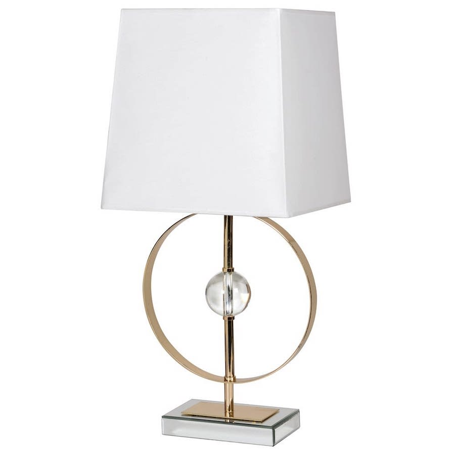 Crystal Circle Table Lamp in Gold