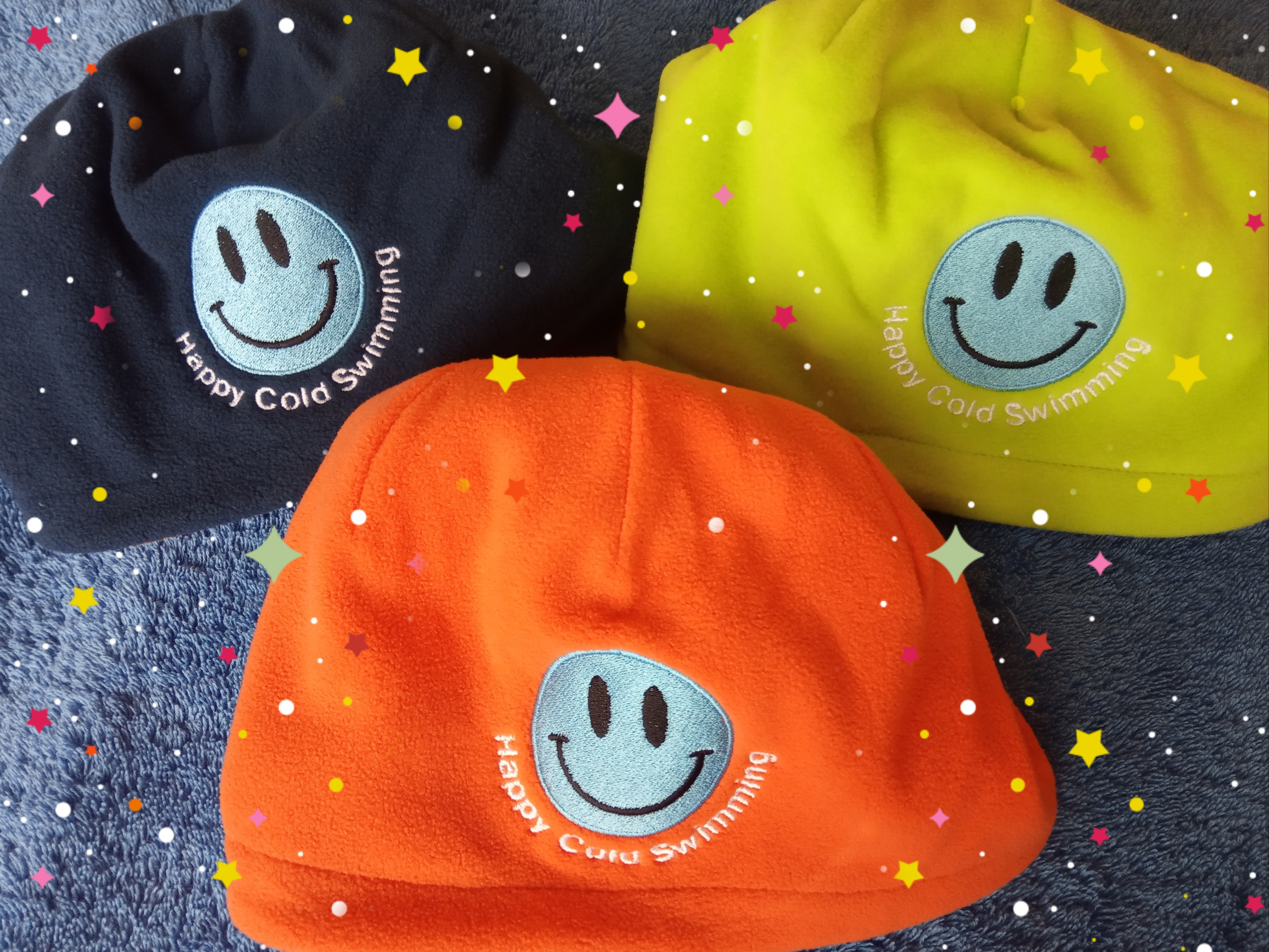 Fleece Beanie Hats - Happy Cold Swimming