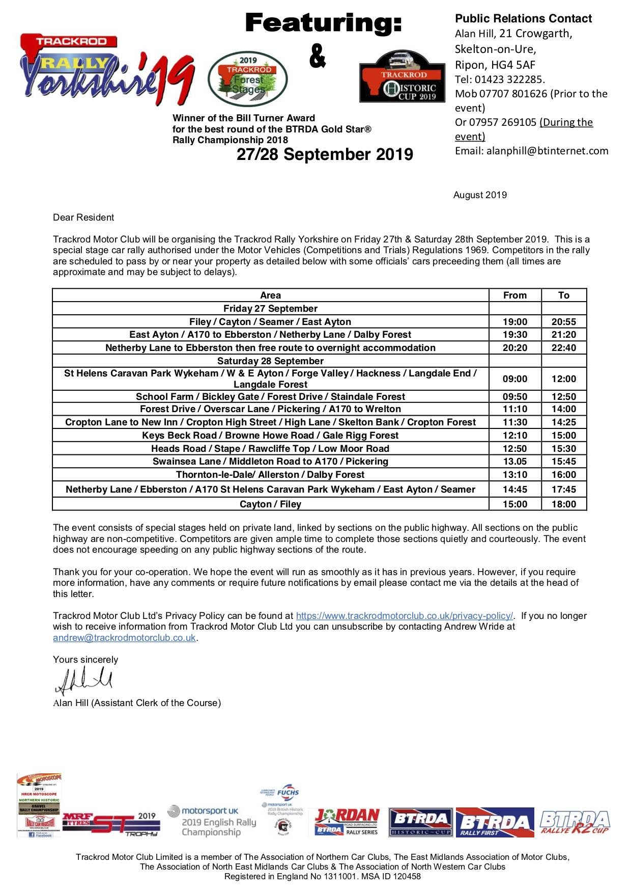 Final 2019 - Email Road Section PR LetterV3 AHjpg