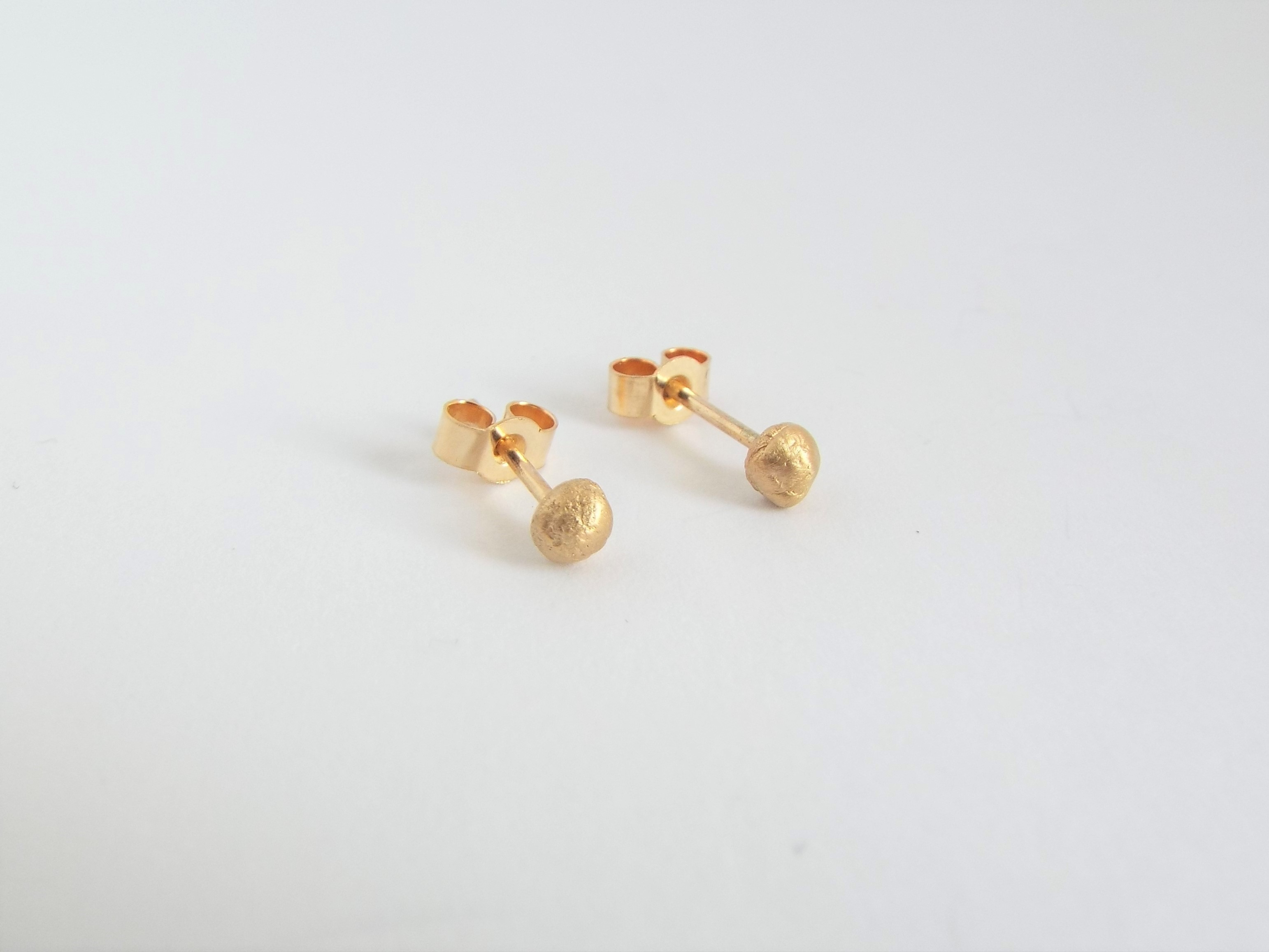 Molten Droplet Gold Stud Earrings
