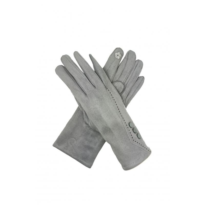 Classic Grey Gloves with Buttons
