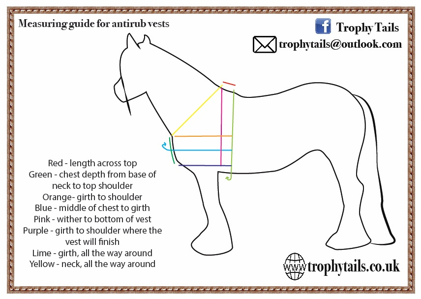 trophy tails measuring guide made to measure horse vest