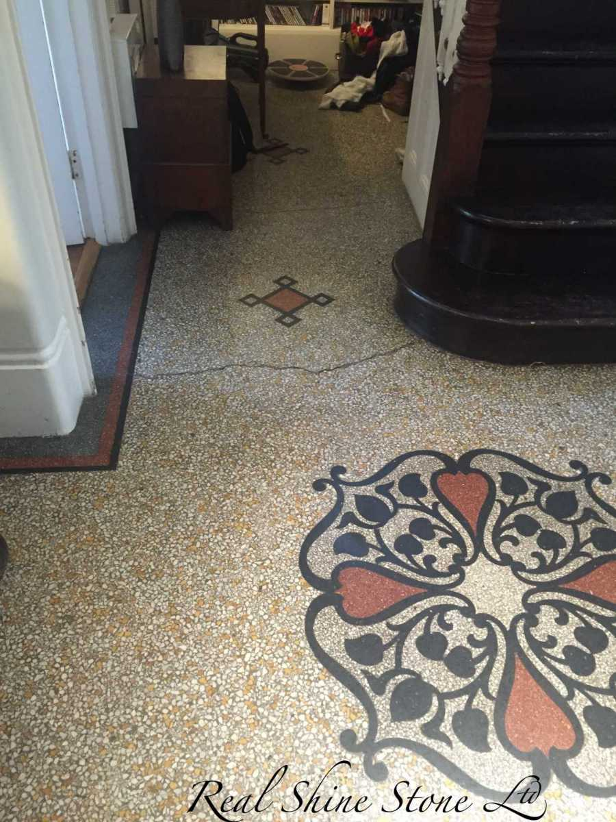 Picture before restoration of the existing 120-year-old terrazzo floor.