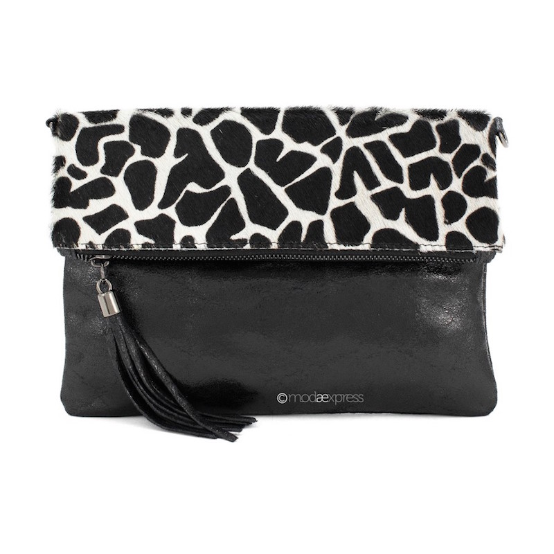 Foldover Animal Print Clutch - Giraffe