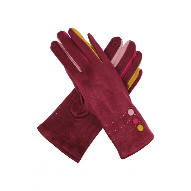 Maroon Suede Effect Gloves with Multi-Fingers and Buttons