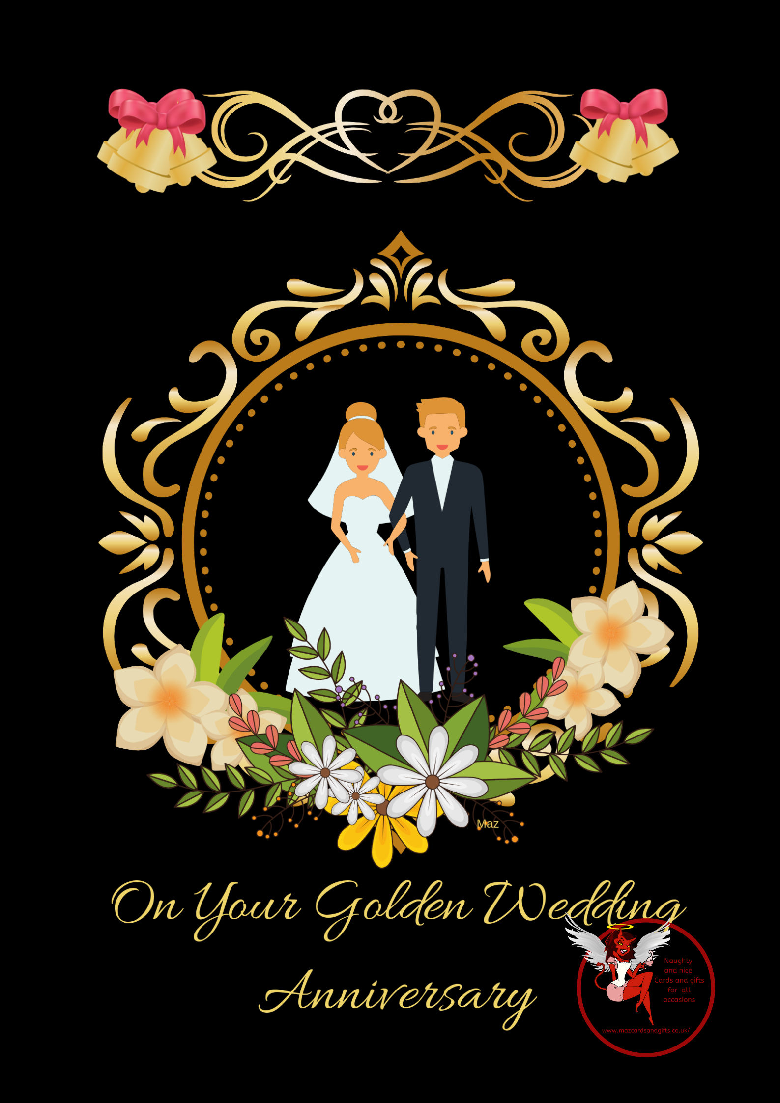 Anniversary Card  - Golden Wedding - Order No 100