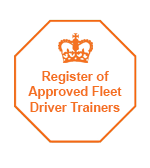 Orange on white octagonal badge of the register of DVSA Approved Fleet Driver Trainers