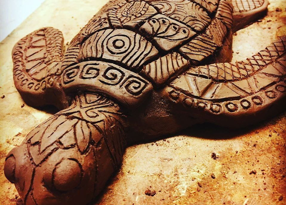 Clay turtle with zentangle patterns made in a workshop run by Akers of Art