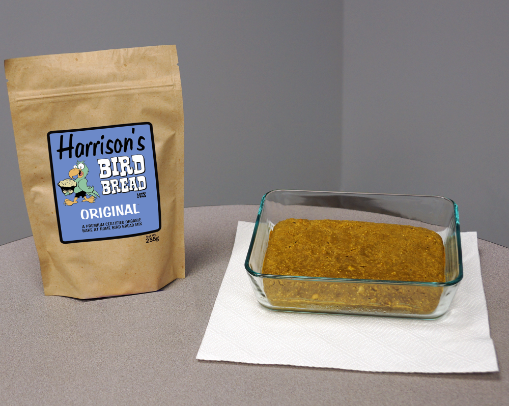 A bag of Harrison's Bird Foods Bird Bread, alongside some baked Bird Bread