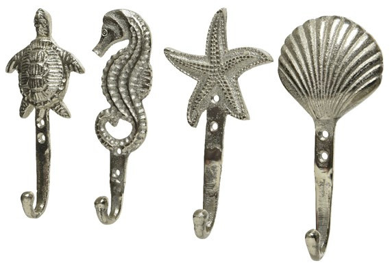 Set of 4 Seaside Hooks in Silver