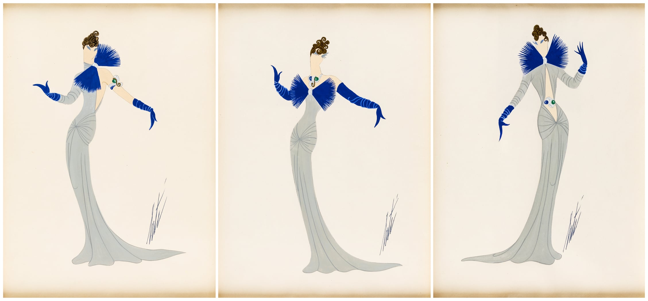 Romain de Tirtoff Erte - Set of three Costume Designs