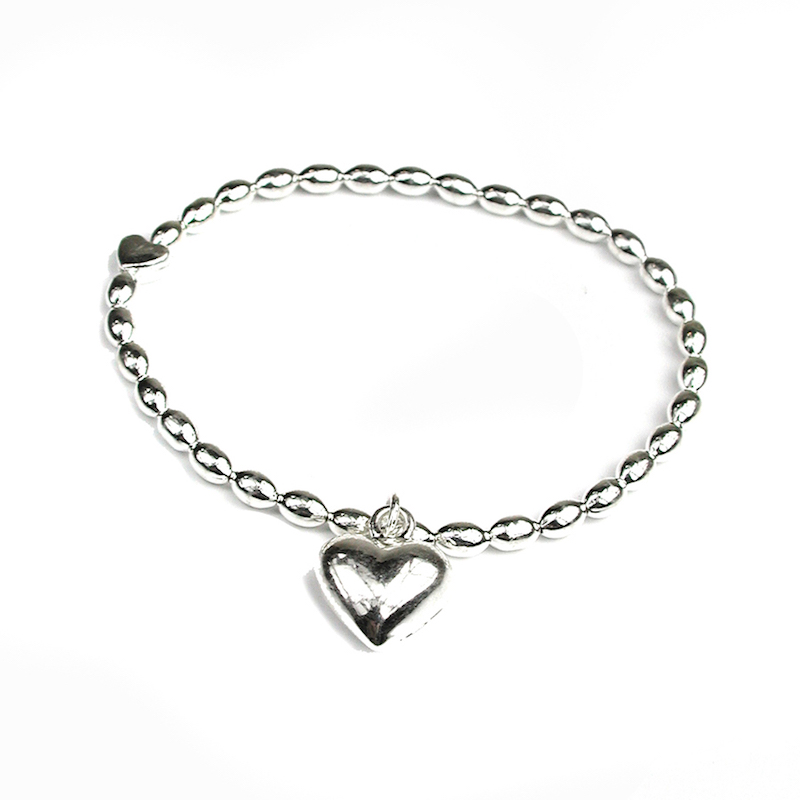 Stretchy Silver Bracelet with Silver Heart