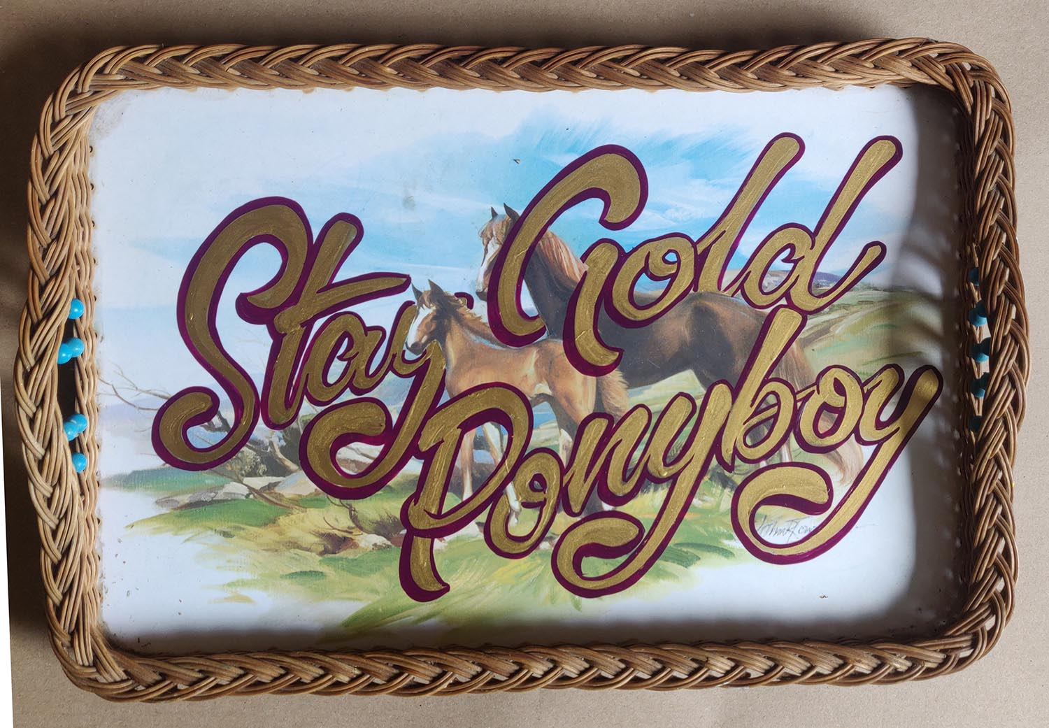 'Stay Gold Ponyboy' repainted horse and foal wicker tray.