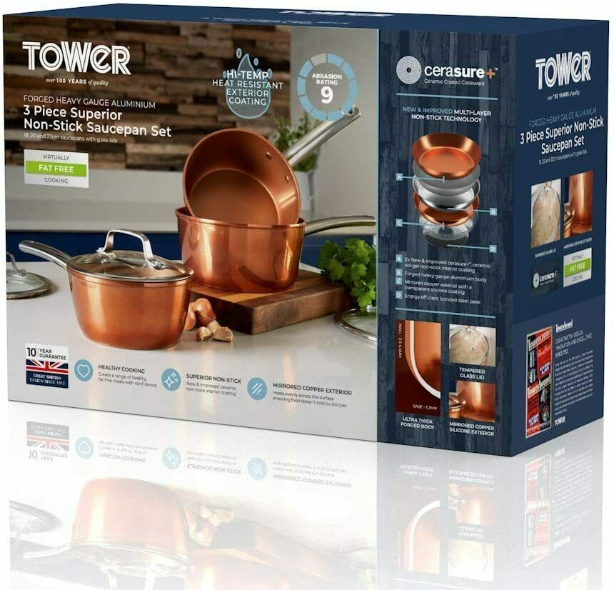 Tower 3 Piece Ultra Non-Stick Saucepans