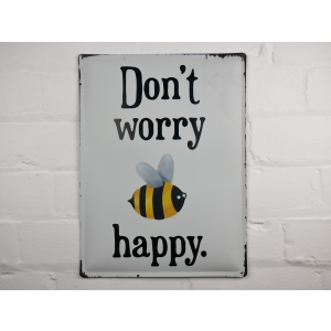 Bee Happy metal wall sign