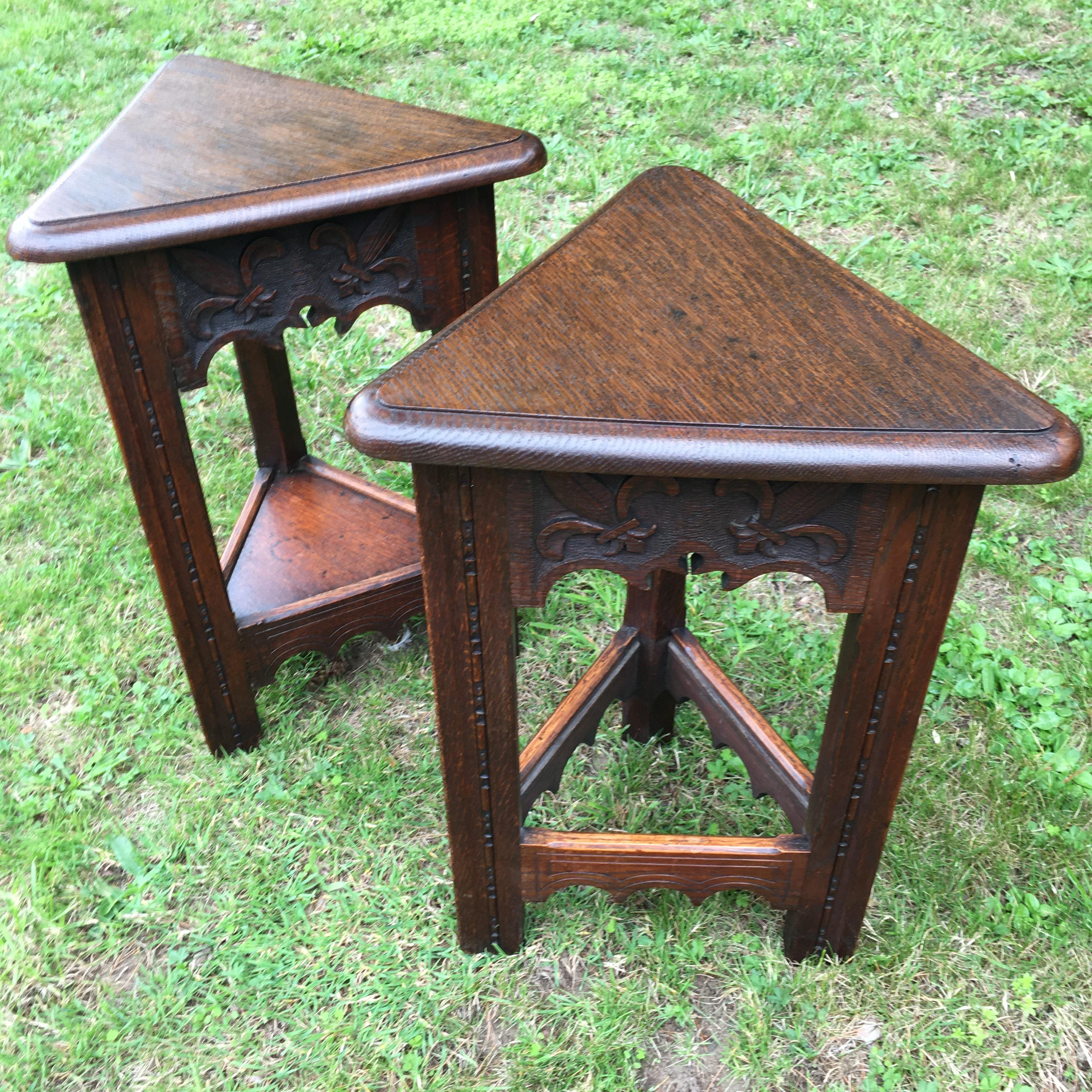 Pair of Unusual Oak Triangular Tables with Lift up tops. C1890