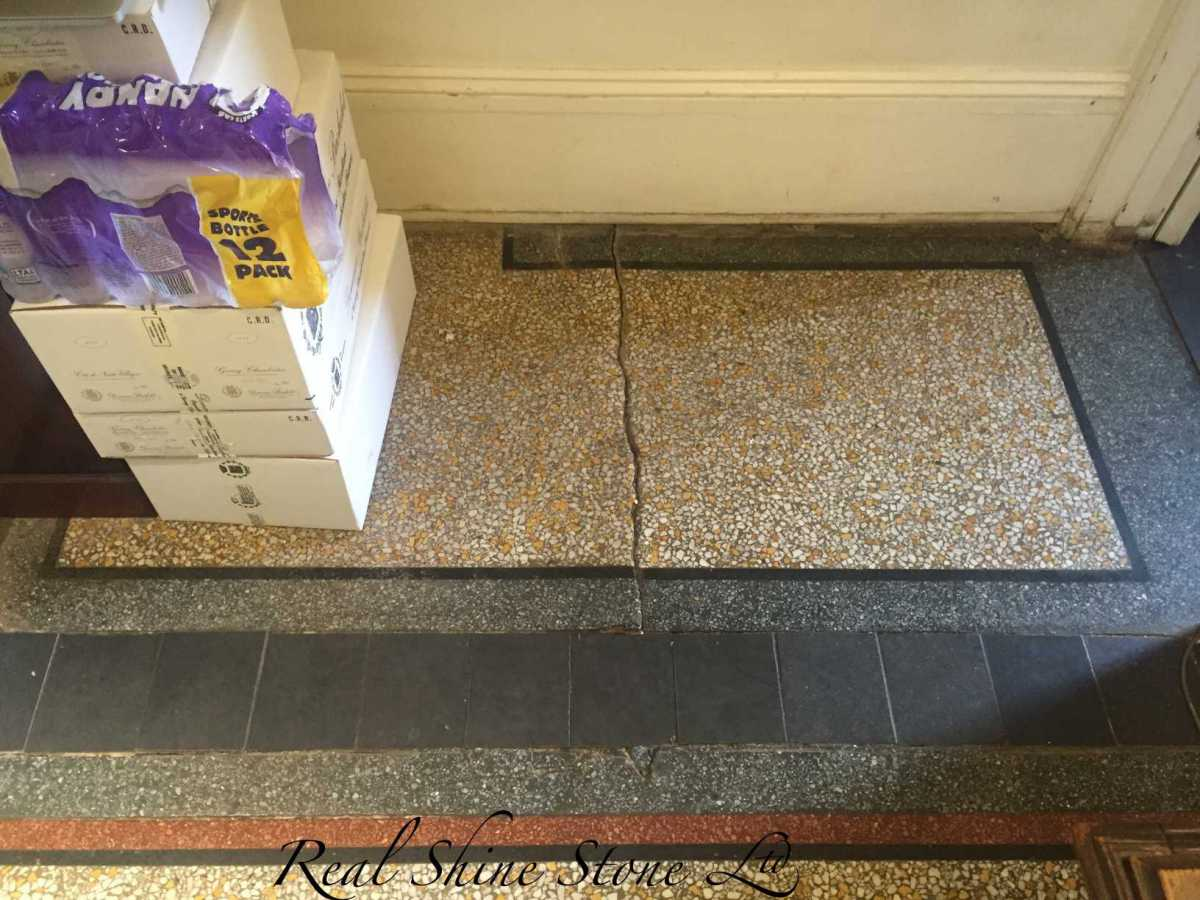 Terrazzo restoration before we poured terrazzo mix to match the existing 120 years old floor