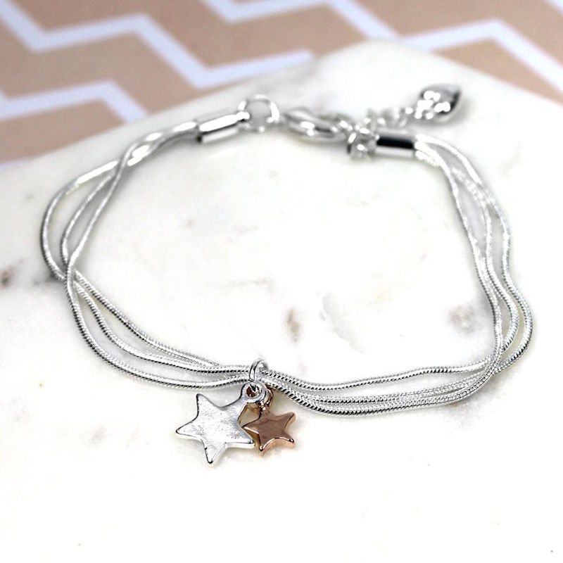 Triple Chain Bracelet with Silver and Rose Gold Stars