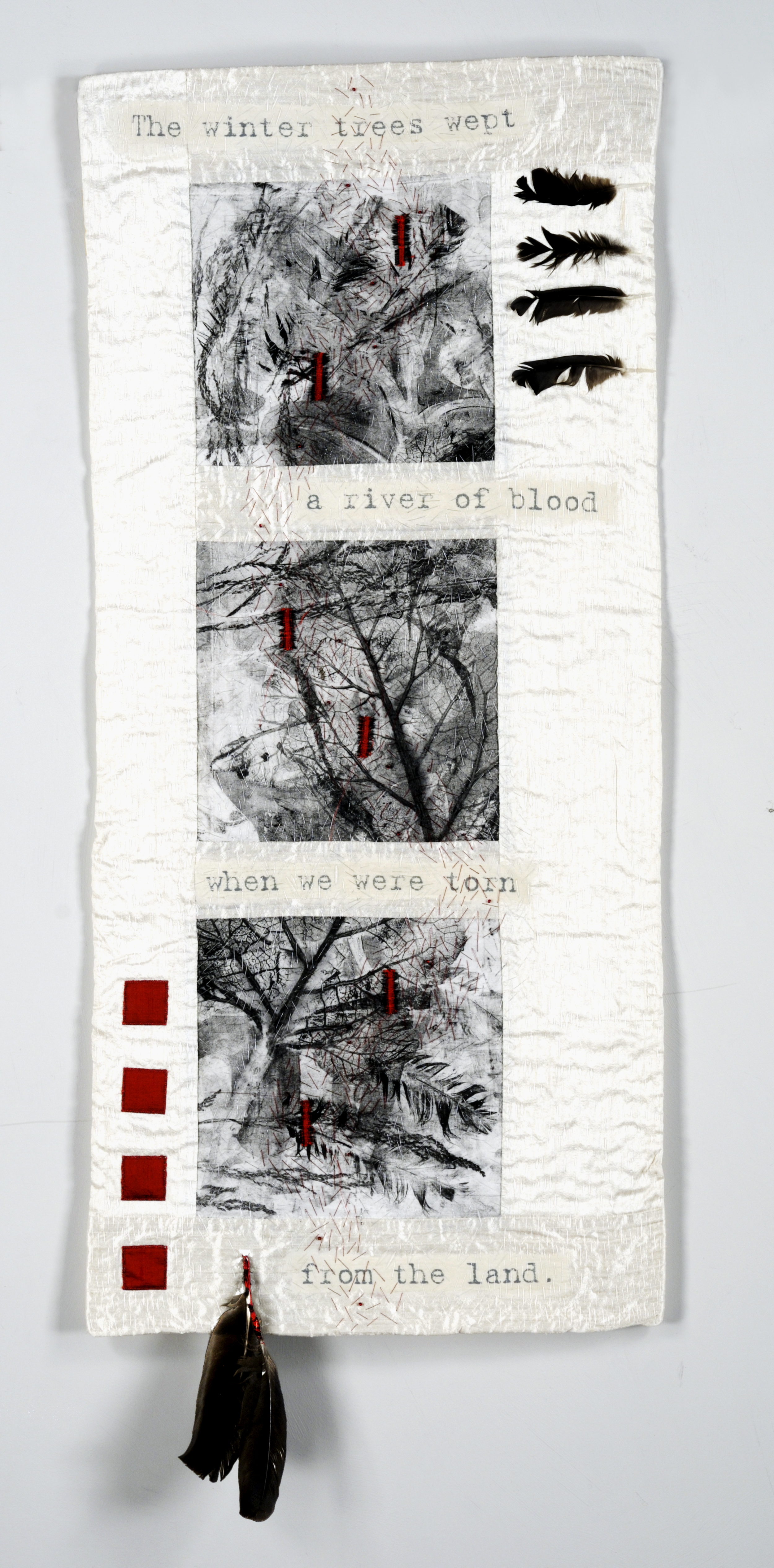 Winter Trees Wept. Silk, Monoprinted Cotton, Beads, Feathers, Paper, 102cmx40cm