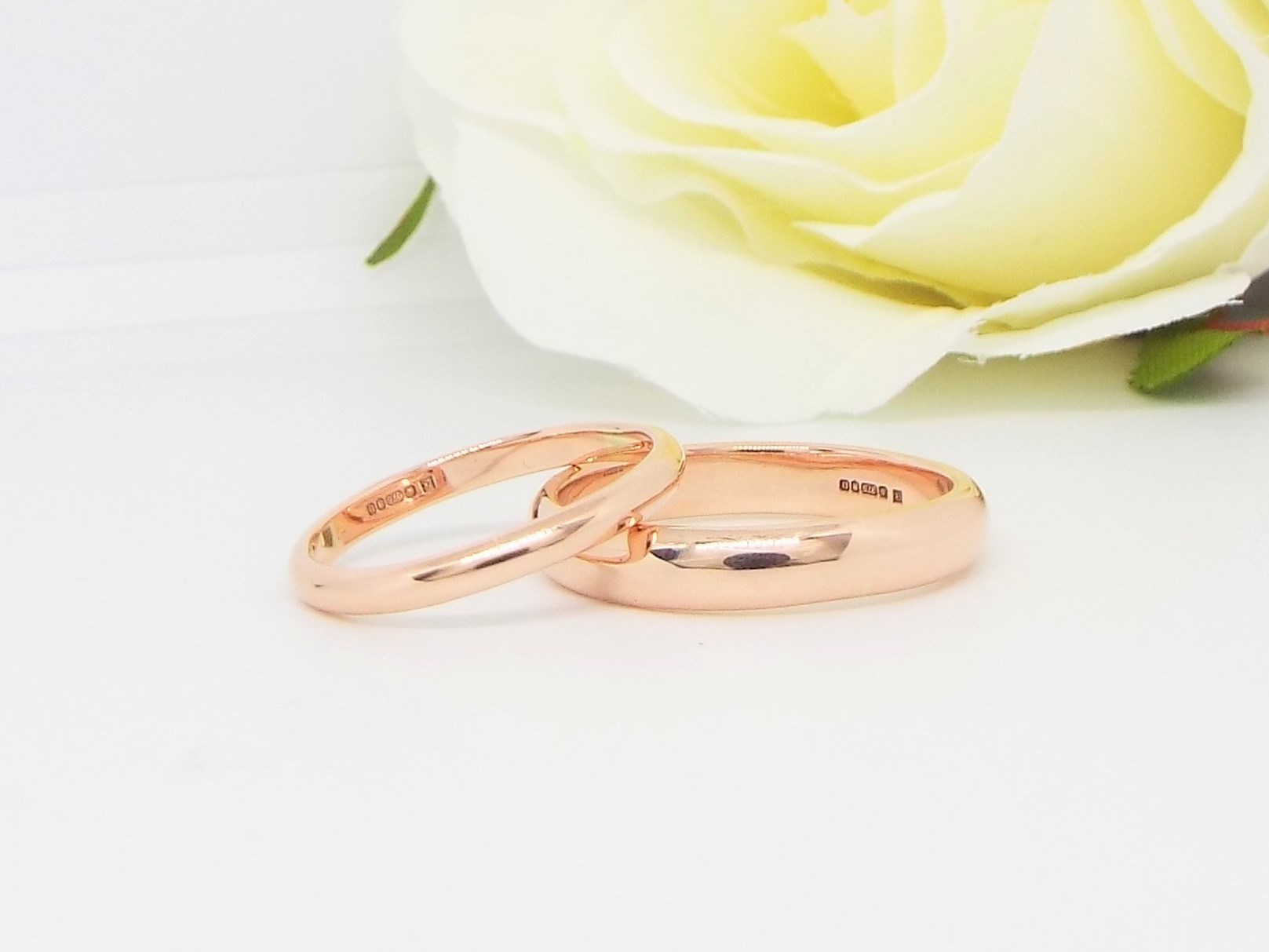 9ct Rose Gold Wedding Ring Set - Smooth Polished