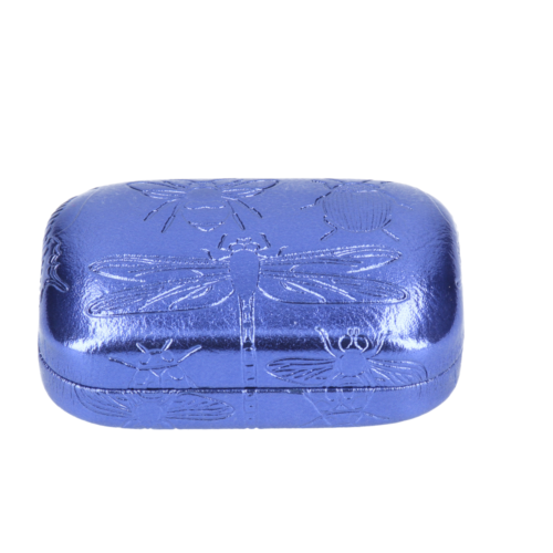 Mini Case/Pill Box in Blue Metallic