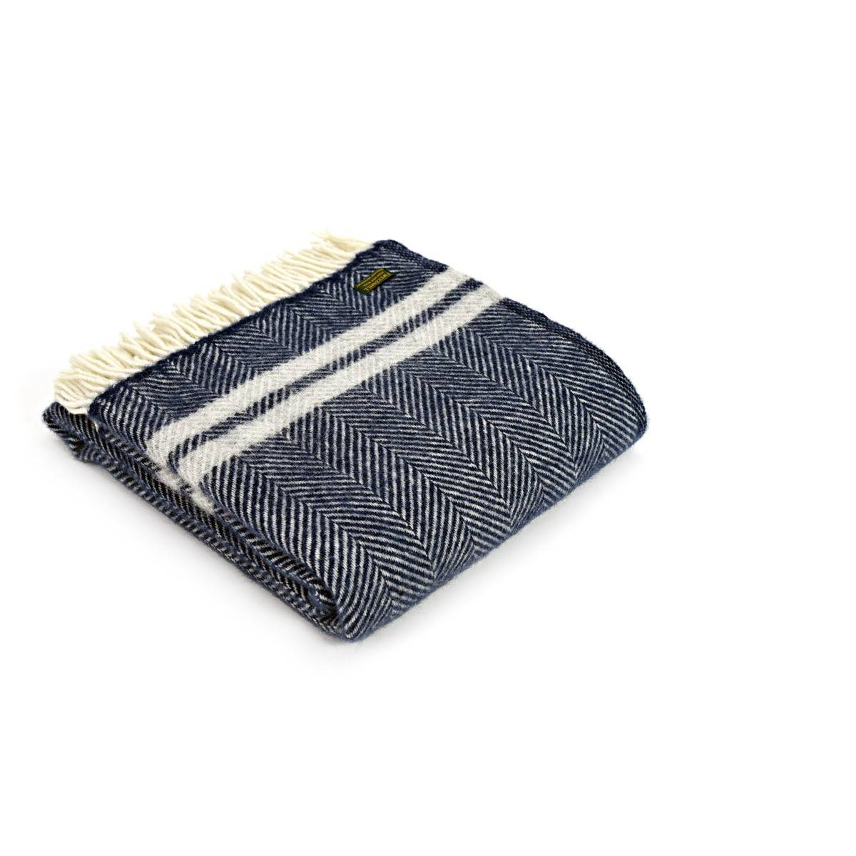 Navy & Silver Grey Stripe Pure Wool Throw