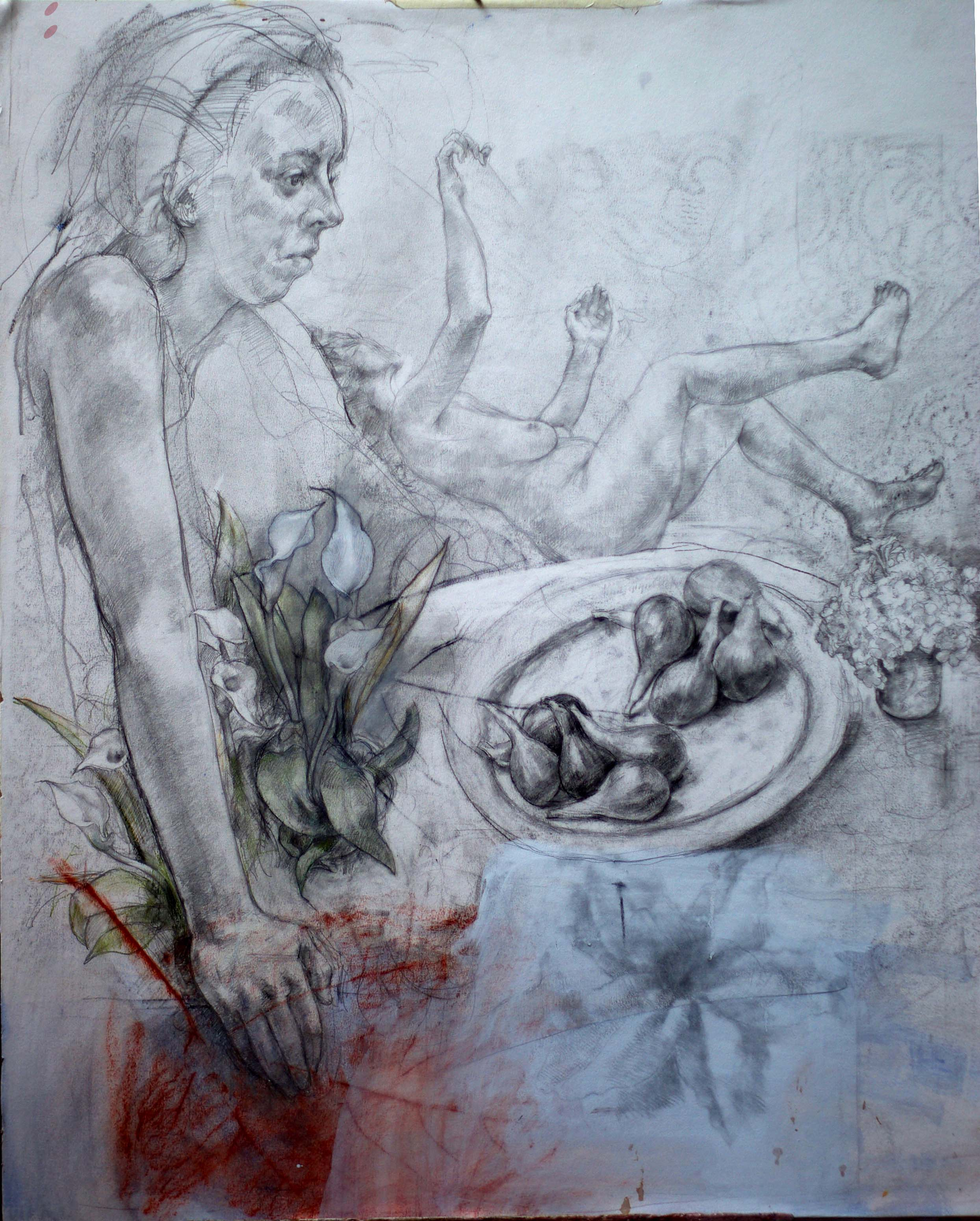 Drawing, mixed media 90 x 65 cms Framed