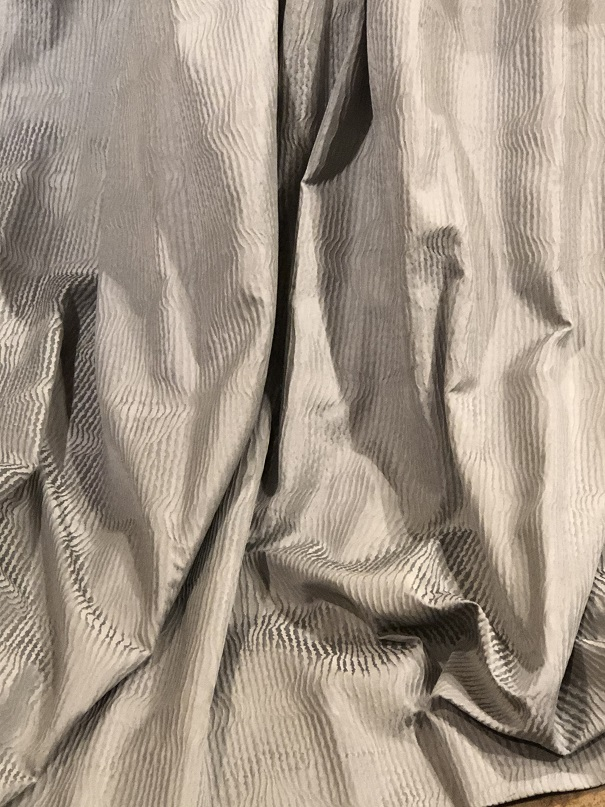 Cool wavy grey pencil pleat lined curtains W337 D214