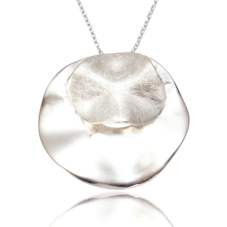 Double Circle Pendant Necklace in Sterling Silver