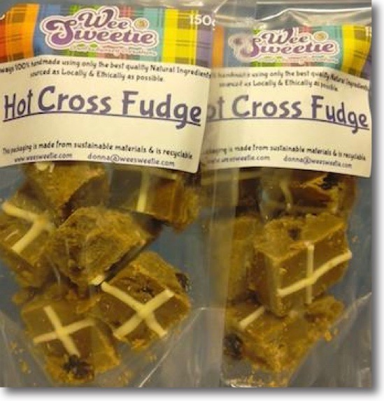Two 150g bags of Wee Sweetie's Hot Cross Fudge - looks just like the real thing! Easter speciality.