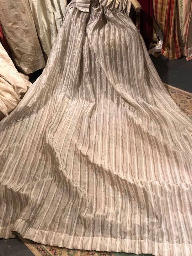 Beautiful grey striped pinch pleat Voiles W168 D274