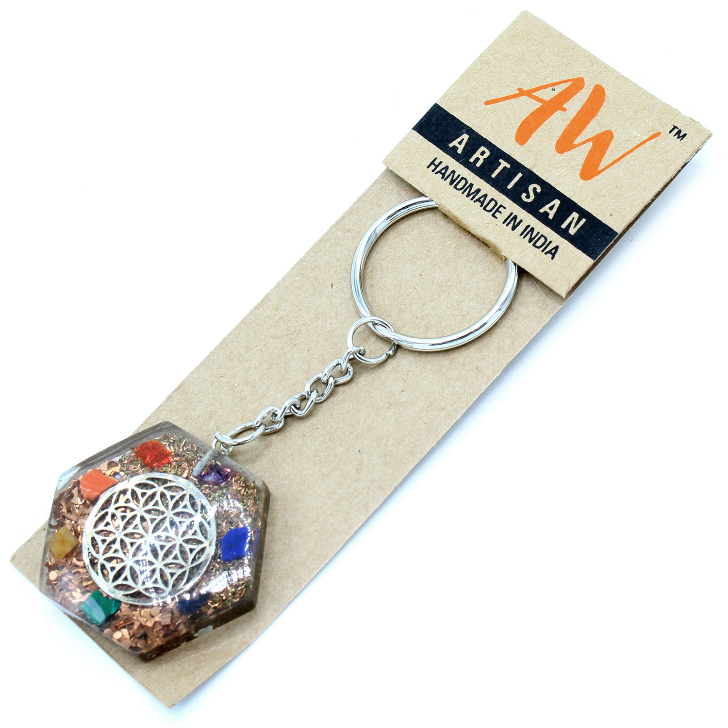 Orgonite Power Keychain - Octagon Flower of Life