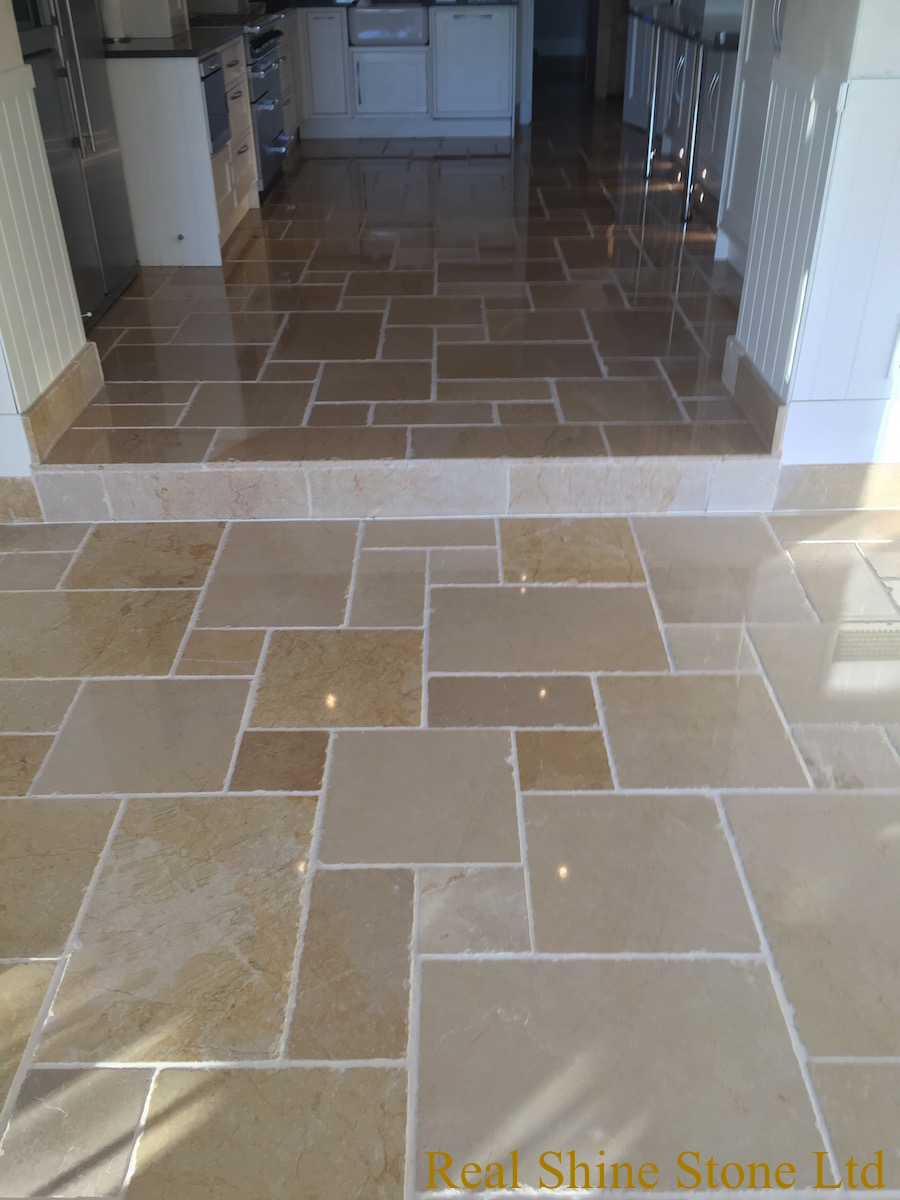 Polishing limestone kitchen floor
