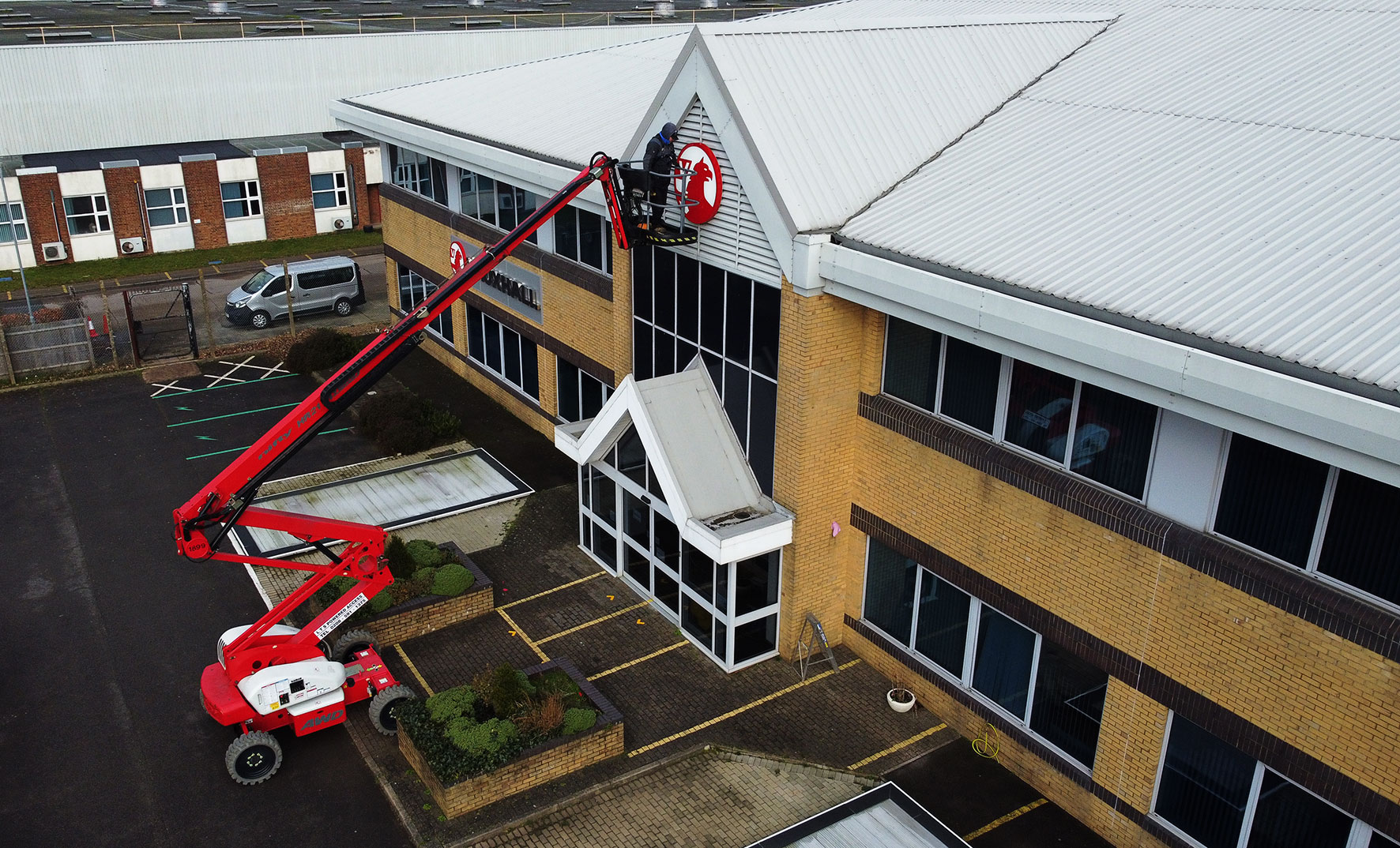 Drone picture - Changing the new signage at Vauxhall Head Office