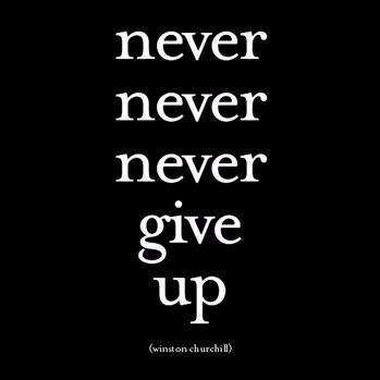 "Winston Churchill quote ""never, never, never give up""."