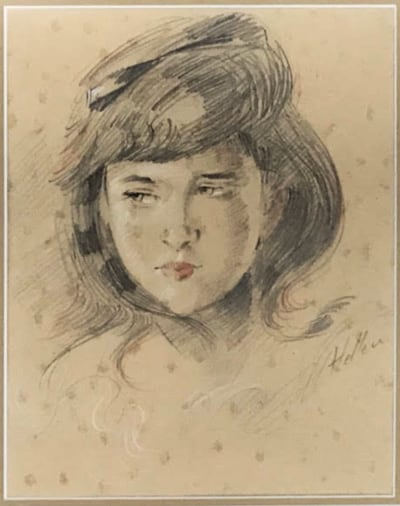 after Paul Caesar Helleu - Portrait de Jeune Fille (Mademoiselle Ellen Helleu)