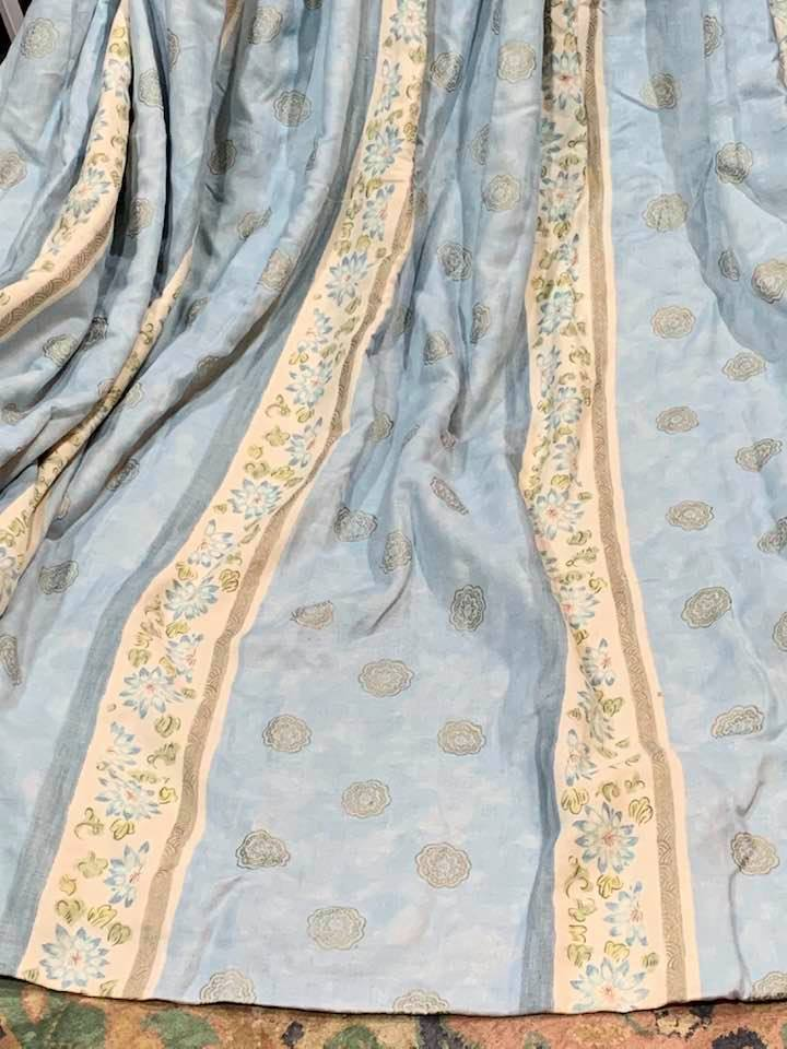 Various Blue/Cream Pinch Pleat Interlined Curtains