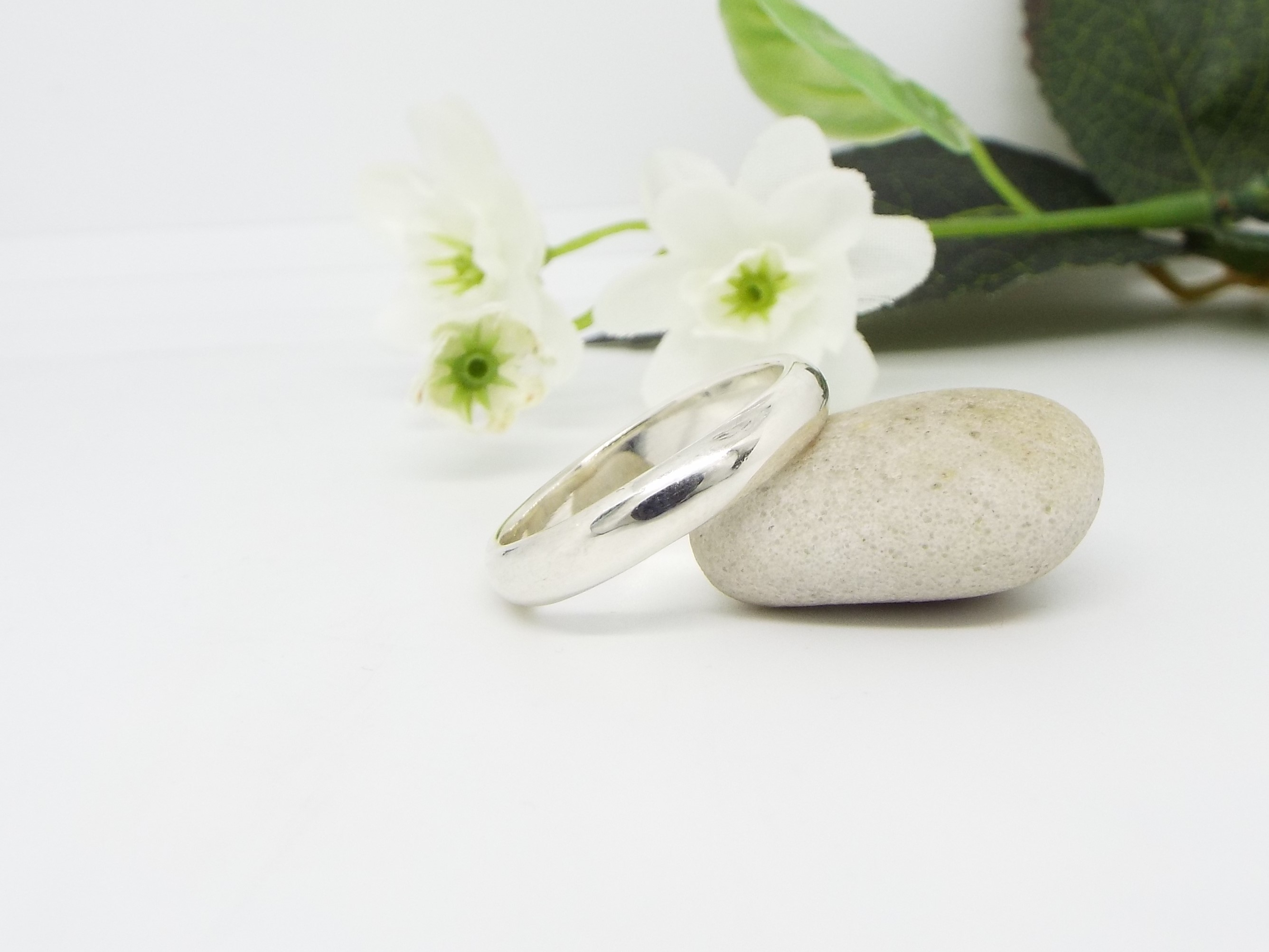 Silver Ring Set - D shaped - Smooth Polished