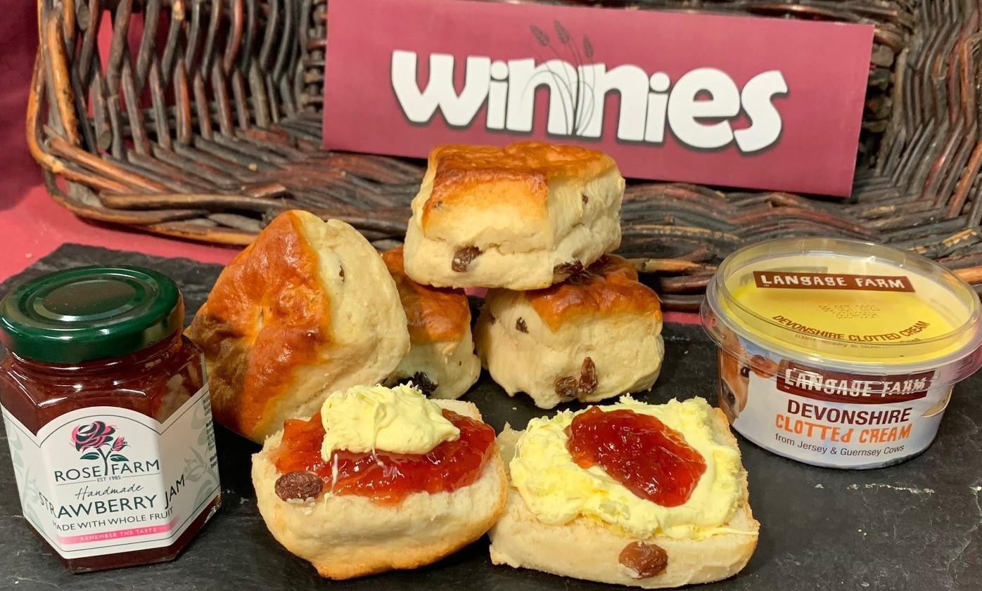FIVE ALL BUTTER FRUIT SCONES, JAM & CLOTTED CREAM