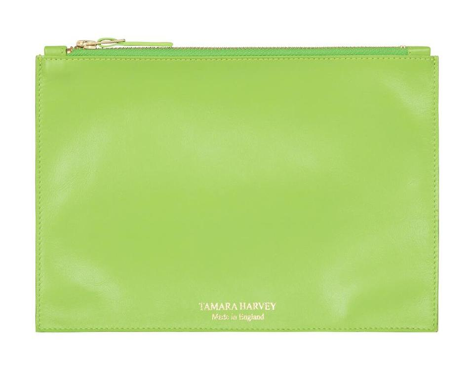Lime Leather Zip Pouch