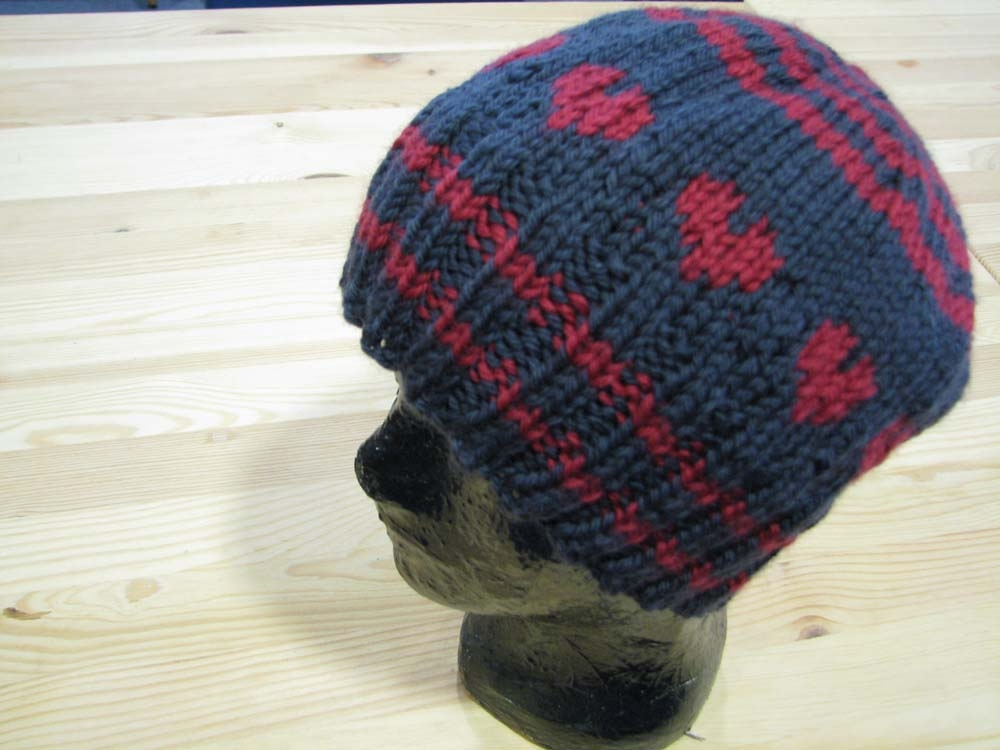 Knitting pattern - heart fairisle beanie