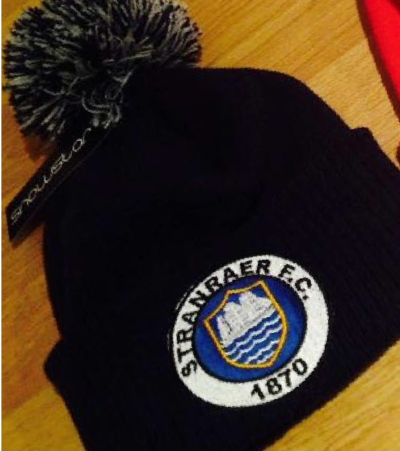 Embroidered beanie hats for Stranraer Football Club
