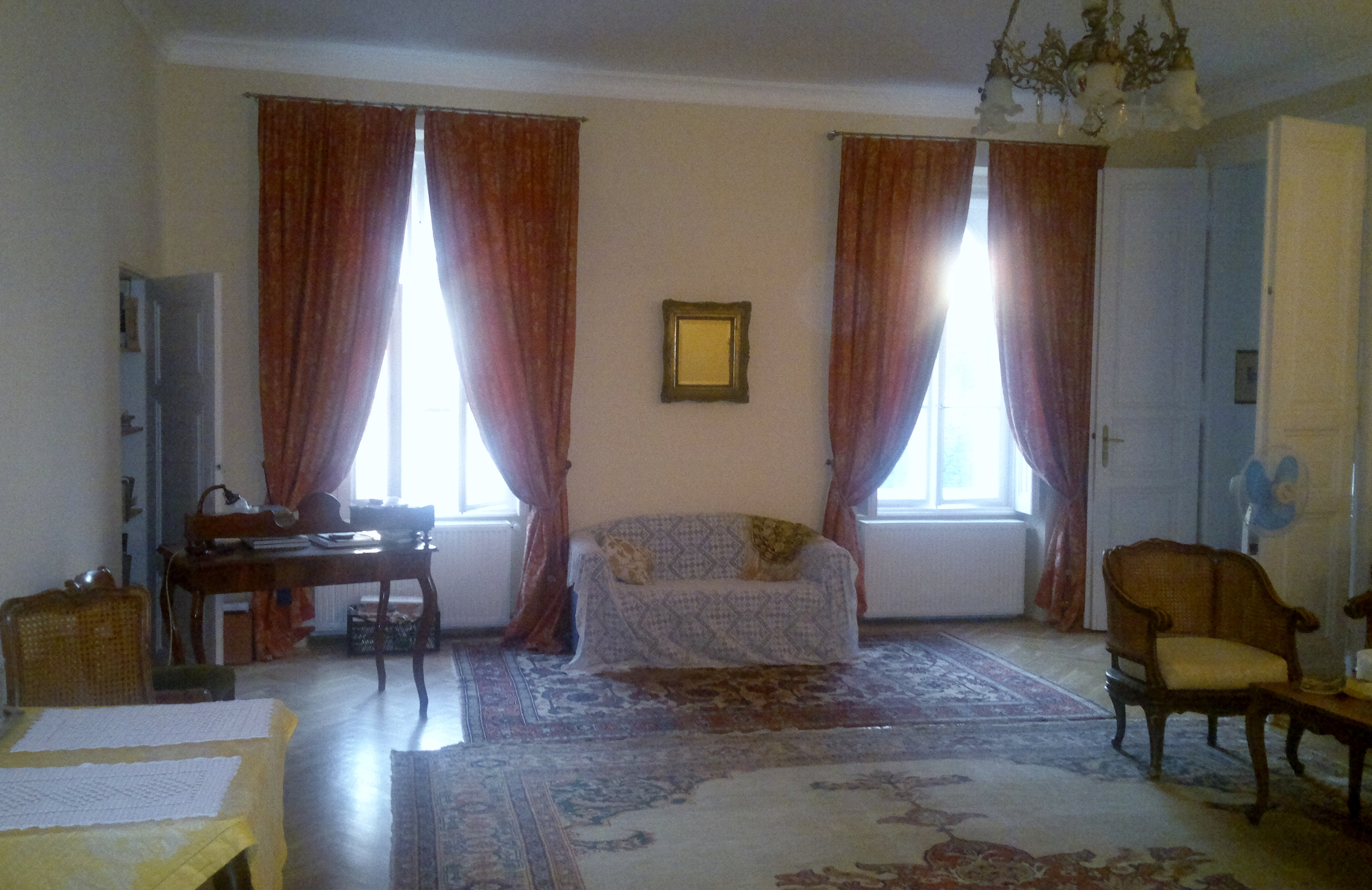 Beautiful very long French Silk Damask Curtains
